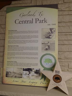 Central Park Lone Star Legacy Park Award and information signage