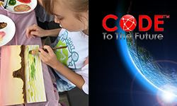 A girl painting and a planet with the words Code to the Future