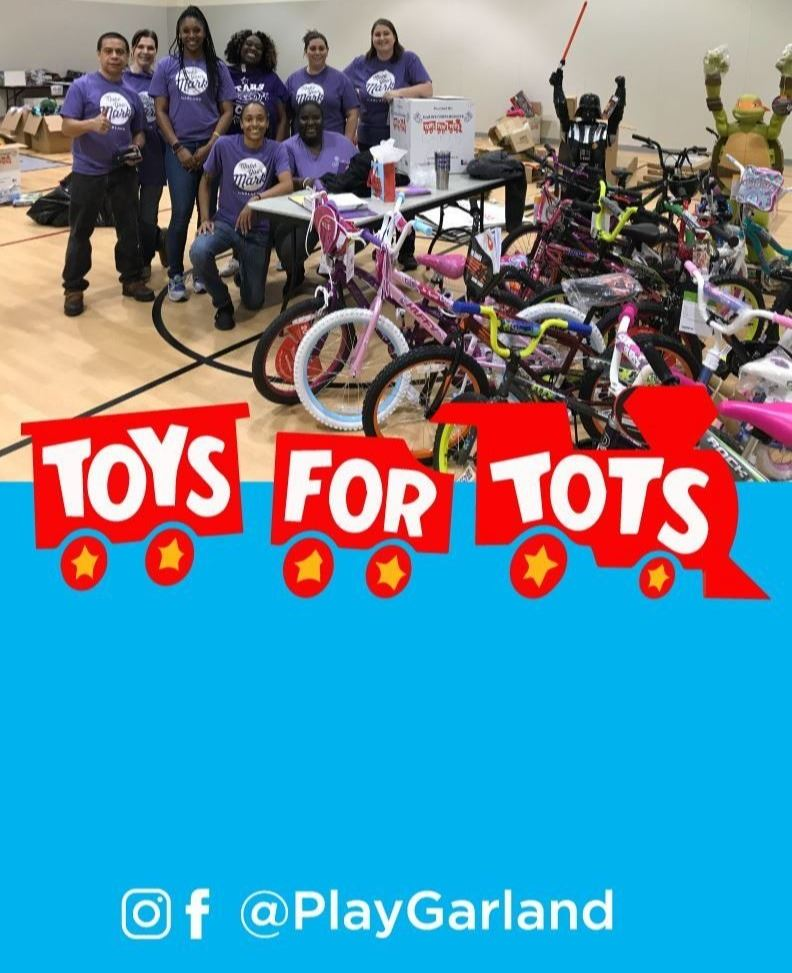 ToysforTots2020 logo with toys and staff in background