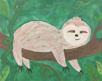 Painting of a three toed sloth against a green background
