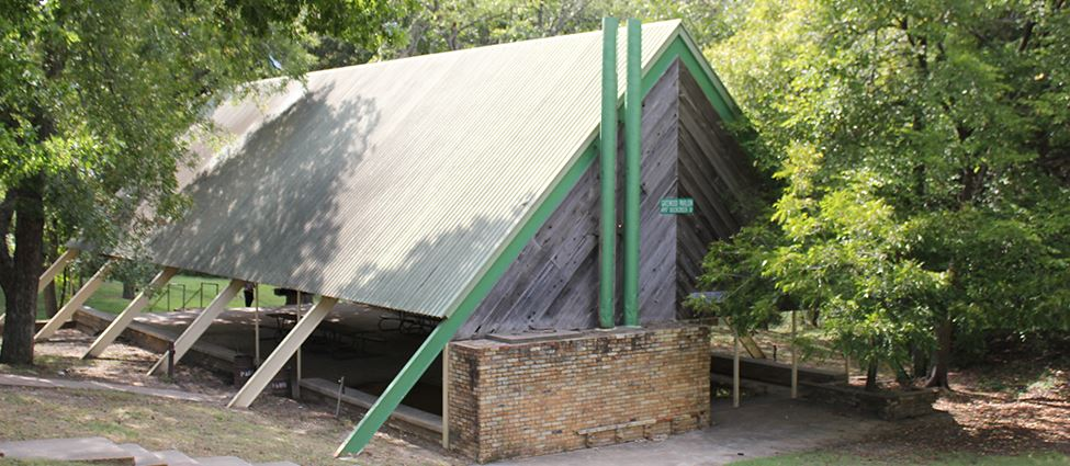 Exterior of covered park pavilion
