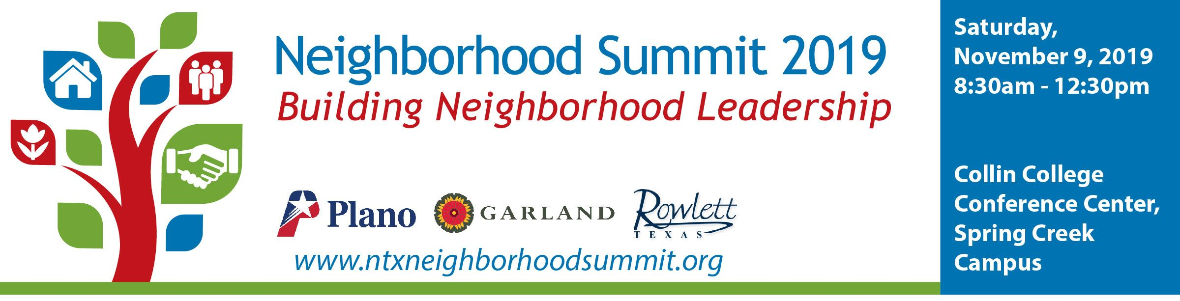 Neighborhood Summit 2019: Building Neighborhood Leadership | Saturday, Nov. 9, 8:30 a.m. to 12:30 p.